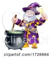 Wizard With Cauldron And Wand Cartoon