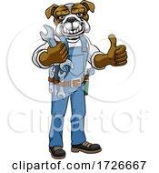 Poster, Art Print Of Bulldog Plumber Or Mechanic Holding Spanner