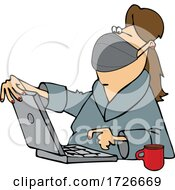 Cartoon Woman Wearing A Mask And Using A Laptop