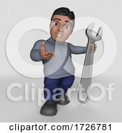 Poster, Art Print Of 3d Casual Hispanic Man On A Shaded Background
