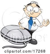 Clipart Picture Of A Male Caucasian Office Nerd Business Man Mascot Cartoon Character Waving And Standing By A Computer Mouse