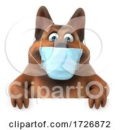 Poster, Art Print Of 3d German Shepherd Dog Wearing A Mask On A White Background