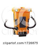 3d Orange Futuristic Robotic Drone Trashcan Rubbish Collector
