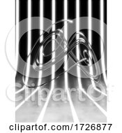 10/28/2020 - 3d Futuristic Black And White Striped Environment With Silver Metal Math Knot Shape
