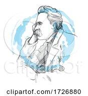 Hand Drawn Portrait Of Friedrich Nietzsche