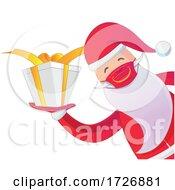 Covid Christmas Santa Claus Holding A Gift by Domenico Condello