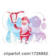 Covid Christmas Santa Claus Holding A Present by Domenico Condello