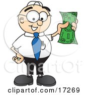 Male Caucasian Office Nerd Business Man Mascot Cartoon Character Holding A Dollar Bill