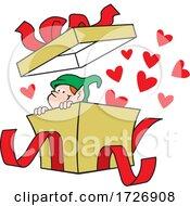 Cartoon Christmas Elf In A Gift Box