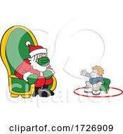 Covid Christmas Boy Socially Distancing And Visiting Santa