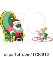 Covid Christmas Girl Socially Distancing And Visiting Santa