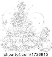 Santa And Birds At A Flocked Tree
