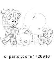 Poster, Art Print Of Boy And Puppy Making A Giant Snowball Or Snowman