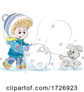 Boy And Puppy Making A Giant Snowball Or Snowman