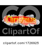 Christmas Text Out Of Ripped Black Background