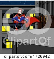 Strong Super Hero On A Building Ledge by Hit Toon