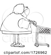 Cartoon Lady Wearing A Mask And Standing With A Shopping Cart