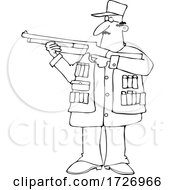 Cartoon Guy Aiming A Shotgun