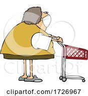 Cartoon Woman Wearing A Mask And Standing With A Shopping Cart