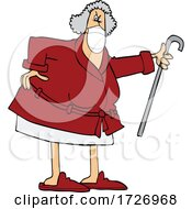 Cartoon Angry Senior Woman Wearing A Mask And Shaking Her Cane