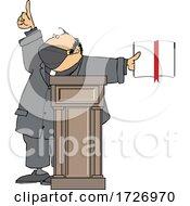 Cartoon Preacher Wearing A Mask