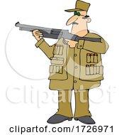 Cartoon Man Aiming A Shotgun