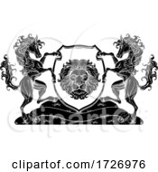 Poster, Art Print Of Horse Lion Crest Coat Of Arms Family Shield Seal