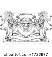 Poster, Art Print Of Coat Of Arms Lions Crest Shield Family Seal