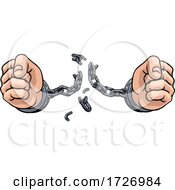 Poster, Art Print Of Hands Breaking Chain Shackles Cuffs Freedom Design