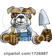Poster, Art Print Of Bulldog Bricklayer Builder Holding Trowel Tool