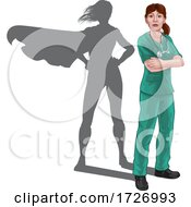 Doctor With Hero Shadow by AtStockIllustration