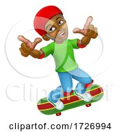 Poster, Art Print Of Boy Kid Child On Skateboard Skateboarding Cartoon