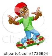 Boy Kid Child On Skateboard Skateboarding Cartoon
