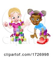 Poster, Art Print Of Girls Playing With Building Blocks And Car