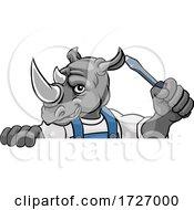 Poster, Art Print Of Rhino Electrician Handyman Holding Screwdriver