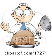 Clipart Picture Of A Hungry Male Caucasian Office Nerd Business Man Mascot Cartoon Character Eyeing A Cooked Thanksgiving Turkey On A Platter
