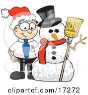 Male Caucasian Office Nerd Business Man Mascot Cartoon Character With A Snowman On Christmas