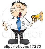 Loud Male Caucasian Office Nerd Business Man Mascot Cartoon Character Screaming Into A Megaphone