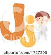 Kid Boy Judo Sport Alphabet Illustration