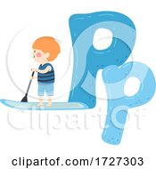 Kid Boy Paddleboarding Sport Alphabet Illustration
