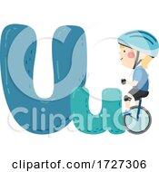 Kid Boy Unicycling Sport Alphabet Illustration