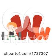 Kid Boy Weightlifting Sport Alphabet Illustration