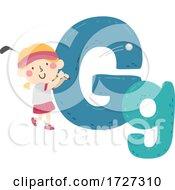 Kid Girl Golf Sport Alphabet Illustration