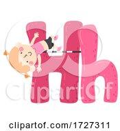 Kid Girl High Jump Sport Alphabet Illustration