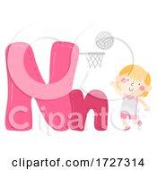 Kid Girl Netball Sport Alphabet Illustration
