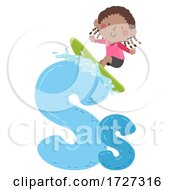 Kid Girl Surfing Sport Alphabet Illustration