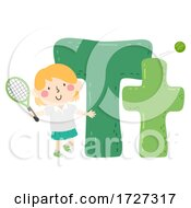 Poster, Art Print Of Kid Girl Tennis Sport Alphabet Illustration