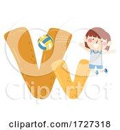 Kid Girl Volleyball Sport Alphabet Illustration
