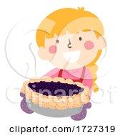 Kid Girl Bake Blue Berry Pie Illustration
