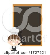 Kid Boy Chef Menu Blackboard Illustration